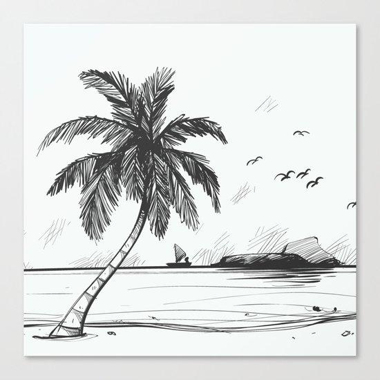 Beach graphic sketch art Canvas Print