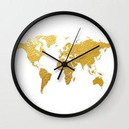 World Map Gold Foil Wall Clock