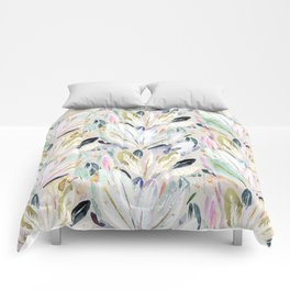 Pastel Shimmer Feather Leaves on Gray Comforters