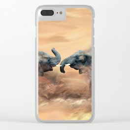 Elephants fighting Clear iPhone Case