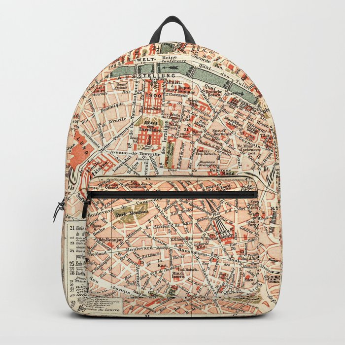 Vintage Map of Paris Backpack