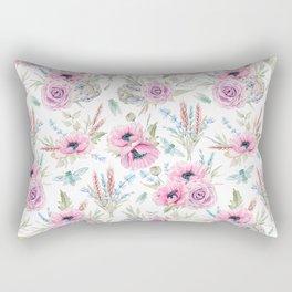 Mauve pink lilac green watercolor cactus roses floral Rectangular Pillow