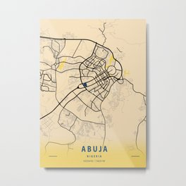 Abuja Yellow City Map Metal Print