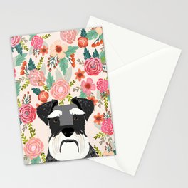 Schnauzer dog head floral background flower schnauzers pet portrait Stationery Cards