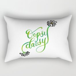 Oopsy Daisy Hand Lettered Illustration Design White Flowers Daisies Rectangular Pillow