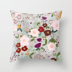 Rainy Day Floral Throw Pillow