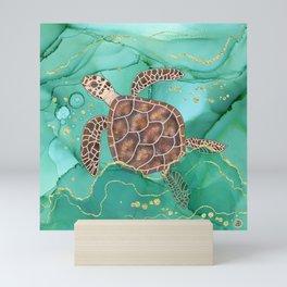 Precious Hawksbill Sea Turtle Swimming in the Emerald Ocean Mini Art Print