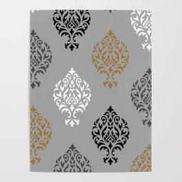 Orna Damask Art I BW Grays Gold Poster