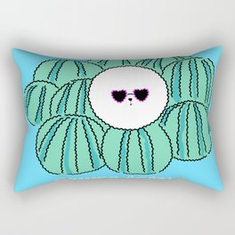 Cute Bichon frise dog with watermelon background. character design Rectangular Pillow