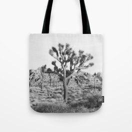 Large Joshua Tree in Black and White Tote Bag