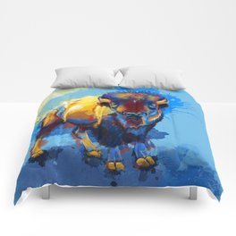 On the Plains - Bison painting Comforters