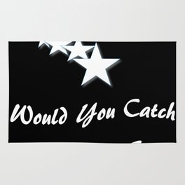 Would You Catch A Falling Star? Black and White Art, Stars Rug