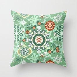 snow in garden Throw Pillow