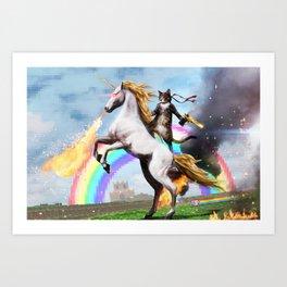 Unicorn and Cat Art Print