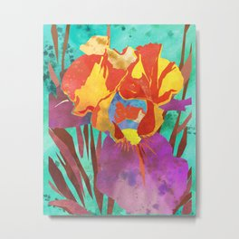Fluorescent Watercolor Iris Art - Plum, Orange, Canary, and Aqua Metal Print