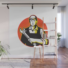 Mechanic Repairman With Adjustable Wrench Retro Wall Mural