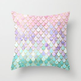 Iridescent Mermaid Pastel and Gold Throw Pillow