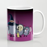 animal crew Mugs featuring Halloween party crew by mangulica illustrations