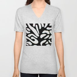 winter tree black and white abstract painting Unisex V-Neck