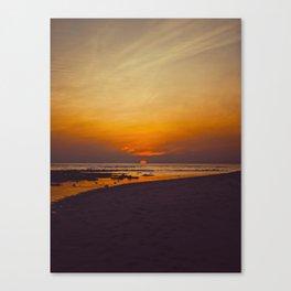 Vintage Sepia Orange Rustic Sunset Over The Ocean Canvas Print