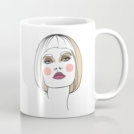 Blonde woman with makeup. Abstract face. Fashion illustration Coffee Mug