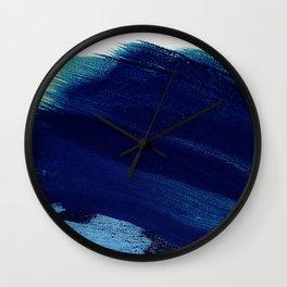 Indigo wave abstract Wall Clock