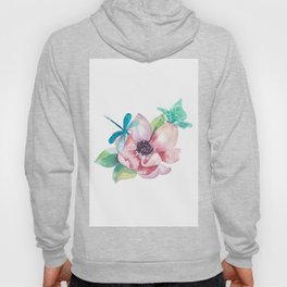 Butterfly and Dragonfly with Flowers Hoody