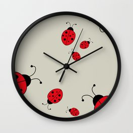 Ladybugs-Beige+Red Wall Clock