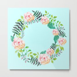 Summer Roses Light Cyan Floral Wreath Opal Pale Turquoise Metal Print