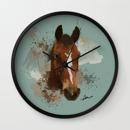 Brown and White Horse Watercolor Light Wall Clock