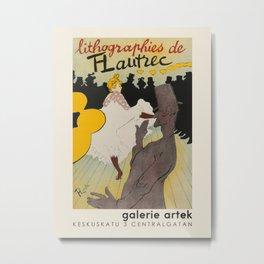 Henri de Toulouse-Lautrec. Exhibition poster for Galerie Artek in Helsinki, 1955. Metal Print