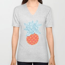 Flower Vase on Pink Unisex V-Neck