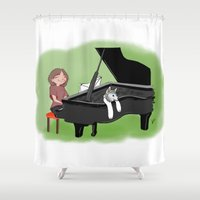piano Shower Curtains featuring PIANO by Andrea Lacuesta Art