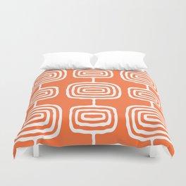 Mid Century Modern Atomic Rings Pattern 771 Orange Duvet Cover