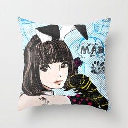 Black,Lemon,Brunette Throw Pillow