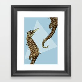 Seahorse Triangle Geometric Modern Beach House Colorful Framed Art Print