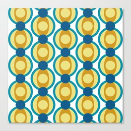 Retro Circle Pattern Mid Century Modern Turquoise Blue and Marigold Canvas Print