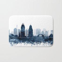Cincinnati Skyline Blue Watercolor by Zouzounio Art Bath Mat