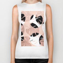Modern black white rose gold glitter monstera tropical leaf on rose gold blush pink Biker Tank