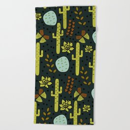 Cacti and butterflies at night Beach Towel