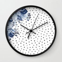 Boho Blue Flowers and Polka Dots Wall Clock