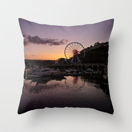 Torquay Harbour Sunset Throw Pillow