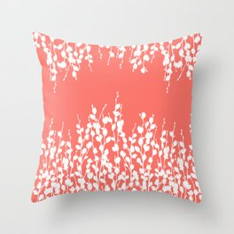 Pussywillow Silhouettes — Living Coral Throw Pillow