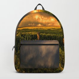 Breadbasket - Golden Light Illuminates Fence and Field in Kansas Backpack