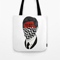 twin peaks Tote Bags featuring Twin Peaks by Black Neon