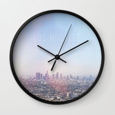 Los Angeles Skyline Typography  Wall Clock