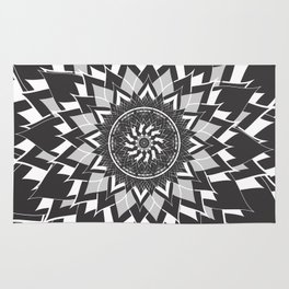 GREY, BLACK AND WHITE FLOWER OF LIFE Rug