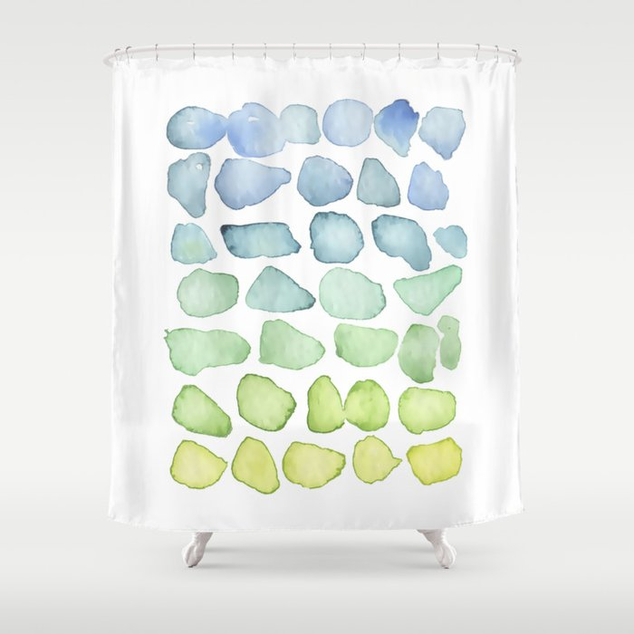Blue Ombre Sea Glass Watercolor Shower Curtain