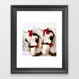 Snowflake and Holly Framed Art Print