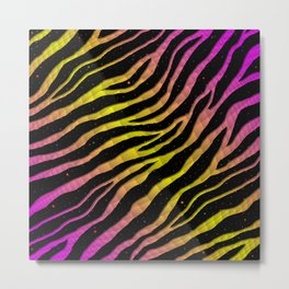 Ripped SpaceTime Stripes - Pink/Yellow Metal Print